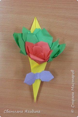"""Букетик с розой в технике оригами"". фото 9"