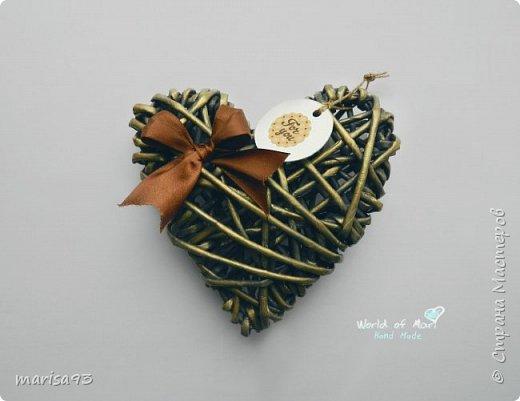 Голубое сердце  Материал : бумажная лоза.  Размеры : 23*22; тощина - 8см.  фото 2