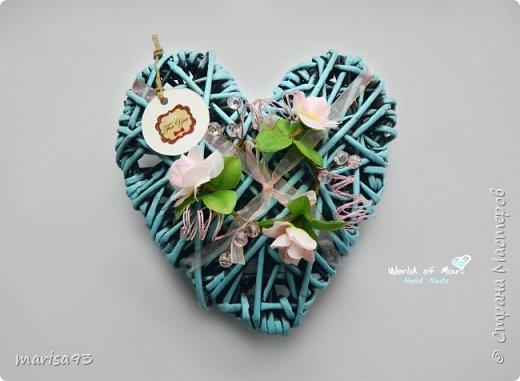 Голубое сердце  Материал : бумажная лоза.  Размеры : 23*22; тощина - 8см.  фото 1