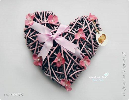Голубое сердце  Материал : бумажная лоза.  Размеры : 23*22; тощина - 8см.  фото 3