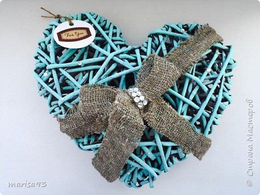 Голубое сердце  Материал : бумажная лоза.  Размеры : 23*22; тощина - 8см.  фото 4