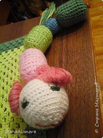 Вот такие подарки для маленького чуда - Анютки: комфортер и просто игрушка-погремушка-гусеничка из киндер-сюрпризов фото 3