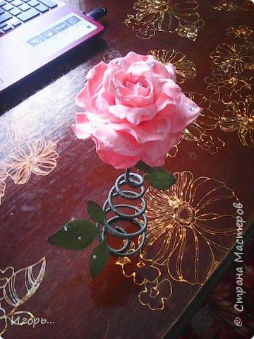 """Сувенир к 8 марта """"Роза на стебле"""". Изготавливается очень просто: сначала по конусу скручивается проволока, затем обматывается тейп лентой, отдельно изготовили розу из фоамирана, листья готовые купленные, немного розу затонировали тенями закрепив лаком для волос, украсили стразами.  фото 3"""