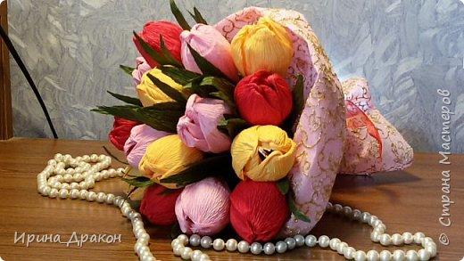 Букет из тюльпанов с конфетами Марсианка