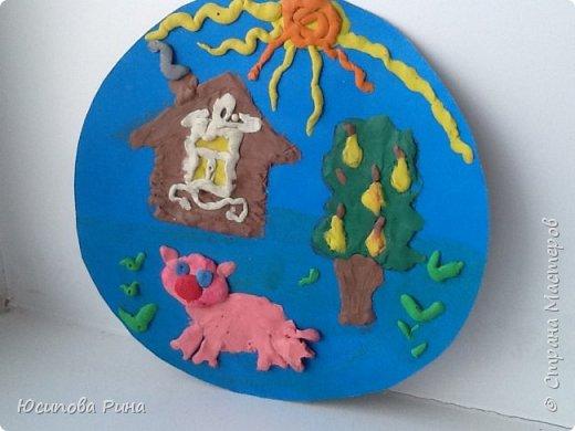 Пейзаж из пластилина:домик, поросёночек,грушевое дерево и солнышко! Урок технологии, педагог Сулиманова Кяримя Ярулловна.