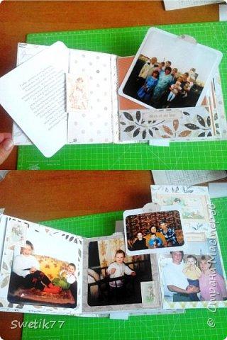 Эту фотопапку я сделала моей старшей дочери на  её 20-летие.  Основа страничек из бумаги 300грам, высота и длина примерно  16см. Обложка жёсткая 2 мм картон.  Альбом состоит из четырёх страничек с разворотами. Вместились в альбом примерно 42 фотографии, 28 фото 13см на 13см. 8 фото 9см на 10 см. И 6 фото  8см на 13см.  фото 2