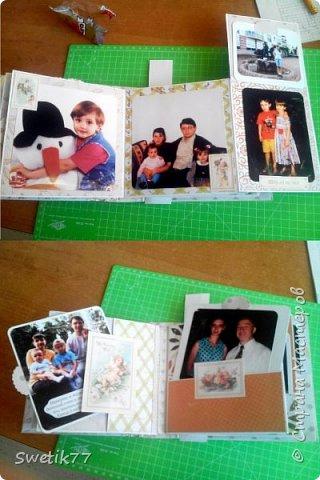 Эту фотопапку я сделала моей старшей дочери на  её 20-летие.  Основа страничек из бумаги 300грам, высота и длина примерно  16см. Обложка жёсткая 2 мм картон.  Альбом состоит из четырёх страничек с разворотами. Вместились в альбом примерно 42 фотографии, 28 фото 13см на 13см. 8 фото 9см на 10 см. И 6 фото  8см на 13см.  фото 3