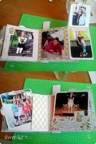 Эту фотопапку я сделала моей старшей дочери на  её 20-летие.  Основа страничек из бумаги 300грам, высота и длина примерно  16см. Обложка жёсткая 2 мм картон.  Альбом состоит из четырёх страничек с разворотами. Вместились в альбом примерно 42 фотографии, 28 фото 13см на 13см. 8 фото 9см на 10 см. И 6 фото  8см на 13см.  фото 4