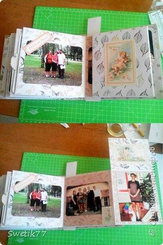 Эту фотопапку я сделала моей старшей дочери на  её 20-летие.  Основа страничек из бумаги 300грам, высота и длина примерно  16см. Обложка жёсткая 2 мм картон.  Альбом состоит из четырёх страничек с разворотами. Вместились в альбом примерно 42 фотографии, 28 фото 13см на 13см. 8 фото 9см на 10 см. И 6 фото  8см на 13см.  фото 5
