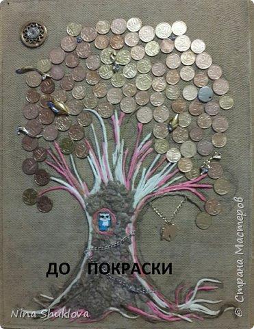 Здравствуйте мастера и мастерицы! Много денежных деревьев  на просторах интернета, вот и мне захотелось порадовать себя. Это денежное дерево я сделала в подарок на 8 марта. Огромное спасибо всем мастерам за подробный мастер-класс!!! Тани Сорокиной в МК скручивания жгутиков (http://stranamasterov.ru/node/308701), m_a_r_i_n_a http://stranamasterov.ru/node/578436?c=favorite_c. Размер панно-картины 30х40. фото 7