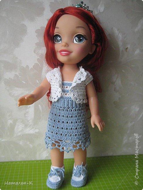 Кукла - Arielle 35 cm.  Подарила внучке на день рождения, с вязаными обновками. В глазах у внучки был ВОСТОРГ!!!   Её любимая  в мультфильме принцесса. Принцесса София - http://stranamasterov.ru/node/1035055  у другой внучки. фото 7