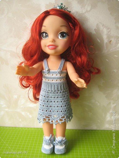 Кукла - Arielle 35 cm.  Подарила внучке на день рождения, с вязаными обновками. В глазах у внучки был ВОСТОРГ!!!   Её любимая  в мультфильме принцесса. Принцесса София - http://stranamasterov.ru/node/1035055  у другой внучки. фото 9