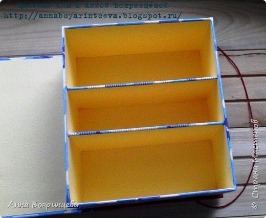 Всем привет!!!! Как и обещала показываю шкатулку, которую делала на заказ. Шкатулка для хранения денежных купюр. Отделы 7,5,7 см. По желанию клиента шкатулка должна состоять из двух тканей красной и синей. На обложке синего должно быть меньше. А внутренняя часть должна быть желтой.  И на обложке обязательно должен быть желтый слоник. Отсюда раз шкатулка для частого пользования и декор весь плоский. Нужно чем скорее тем лучше и вот по закону подлости, когда мне нужно было ее отдавать, у меня сели батарейки в фотоаппарате.Я успела сфотать только обложку а все остальные фото сделаны на телефон. Поэтому извиняюсь за качество фото!!! фото 4