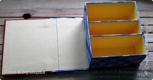 Всем привет!!!! Как и обещала показываю шкатулку, которую делала на заказ. Шкатулка для хранения денежных купюр. Отделы 7,5,7 см. По желанию клиента шкатулка должна состоять из двух тканей красной и синей. На обложке синего должно быть меньше. А внутренняя часть должна быть желтой.  И на обложке обязательно должен быть желтый слоник. Отсюда раз шкатулка для частого пользования и декор весь плоский. Нужно чем скорее тем лучше и вот по закону подлости, когда мне нужно было ее отдавать, у меня сели батарейки в фотоаппарате.Я успела сфотать только обложку а все остальные фото сделаны на телефон. Поэтому извиняюсь за качество фото!!! фото 5