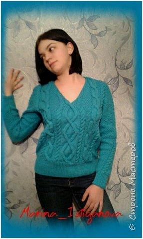 К концу зимы связала я вот такой яркий пуловер цвета весеннего неба для своей коллеги. Захотелось девушке ярких красок Демонстрирует модель моя доченька.  фото 3