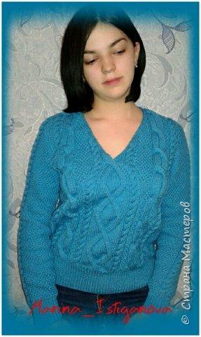 К концу зимы связала я вот такой яркий пуловер цвета весеннего неба для своей коллеги. Захотелось девушке ярких красок Демонстрирует модель моя доченька.  фото 2