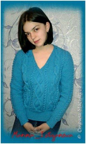 К концу зимы связала я вот такой яркий пуловер цвета весеннего неба для своей коллеги. Захотелось девушке ярких красок Демонстрирует модель моя доченька.  фото 1