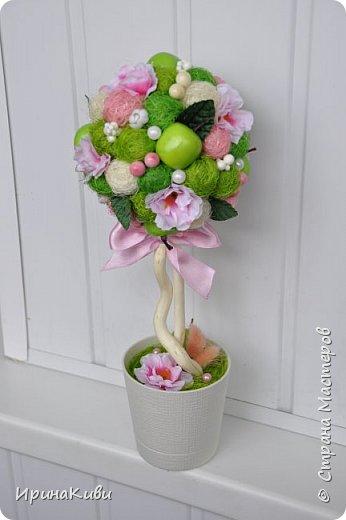 """Опять довелось делать мои любимые топиарии из сизалевых шариков. Сделала 6 деревьев за несколько дней к женскому празднику.  Очередной вариант """"Яблочной нежности"""". Очень нравится сочетание зеленых и розовых цветов - такое нежное и весеннее. фото 1"""