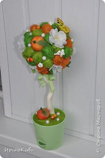 """Опять довелось делать мои любимые топиарии из сизалевых шариков. Сделала 6 деревьев за несколько дней к женскому празднику.  Очередной вариант """"Яблочной нежности"""". Очень нравится сочетание зеленых и розовых цветов - такое нежное и весеннее. фото 10"""