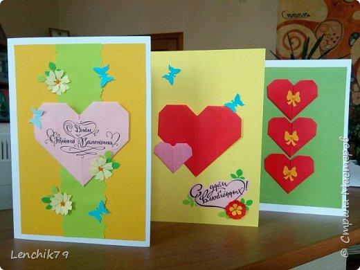 Еще раз Здравствуйте! Валентинки в стиле оригами. Очень понравилось складывать сердечки. Спасибо фото с интернета. Вот такие открытки Валентинки я подготовила в качестве примера. фото 1