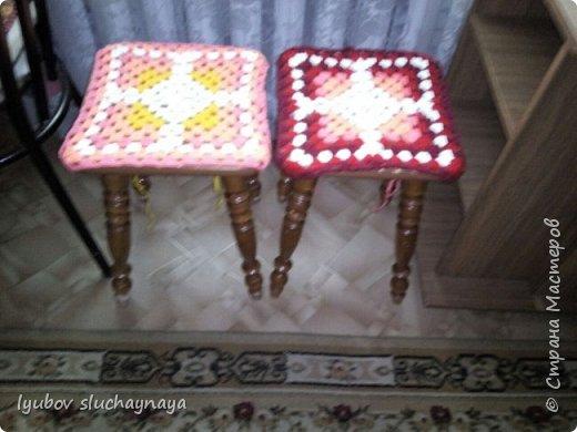 Волшебство бабушкиного квадрата - чехлы на табурет крючком - мини МК фото 13