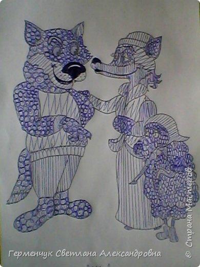 """На уроке Изо"""" Иллюстрации к сказкам"""" уч-ся 4 класса   выполняли  штрихом.Такое рисование хорошо развивает мелкую моторику пальцев,улучшает почерк .Ребятам понравилась работа ,они придумывали свои способы штриховки,Рисунки  распечатали из Интернета . Все , МОЛОДЦЫ!!!!!! фото 13"""