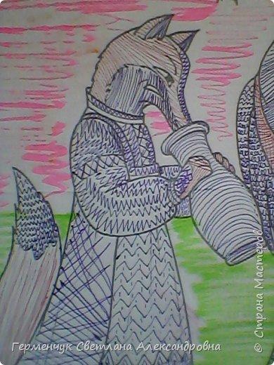 """На уроке Изо"""" Иллюстрации к сказкам"""" уч-ся 4 класса   выполняли  штрихом.Такое рисование хорошо развивает мелкую моторику пальцев,улучшает почерк .Ребятам понравилась работа ,они придумывали свои способы штриховки,Рисунки  распечатали из Интернета . Все , МОЛОДЦЫ!!!!!! фото 30"""