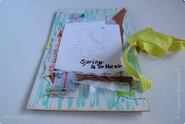 """Весна на людей действует по-разному, но подобно природе, иногда мы """"обновляемся"""", решаемся на что-то новое, свежее. Вот и я сегодня с необычной открыткой, собранной из обрывков и каракуль, без использования скрапбумаги. фото 2"""