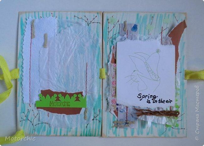 """Весна на людей действует по-разному, но подобно природе, иногда мы """"обновляемся"""", решаемся на что-то новое, свежее. Вот и я сегодня с необычной открыткой, собранной из обрывков и каракуль, без использования скрапбумаги. фото 5"""