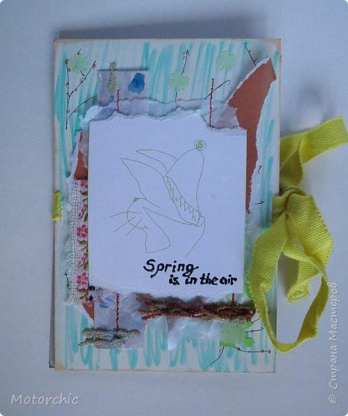 """Весна на людей действует по-разному, но подобно природе, иногда мы """"обновляемся"""", решаемся на что-то новое, свежее. Вот и я сегодня с необычной открыткой, собранной из обрывков и каракуль, без использования скрапбумаги. фото 7"""