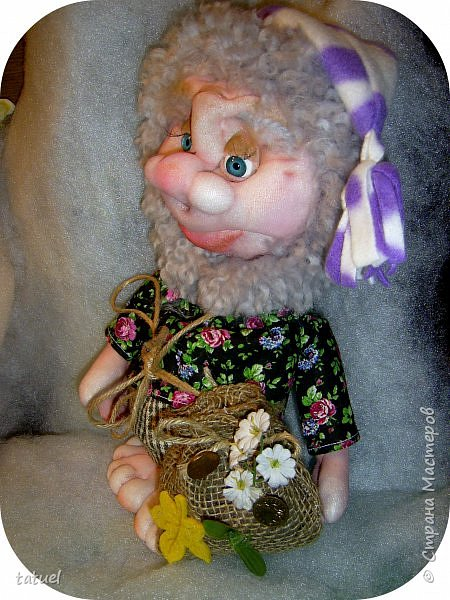 Всем добрый вечер! Продолжаю осваивать кукол из капрона.  Пошила домовят.  Этот ростом 33 см. фото 2