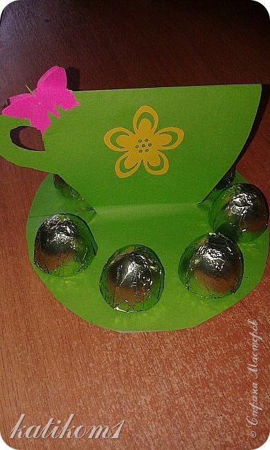 Вот такие  чашечки с конфетами сынуля сделал своим бабушкам фото 5