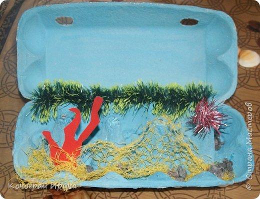 Для поделки мы использовали картонный лоток от яиц, ракушки, немного гальки, мишуру, картон, сеточку от фруктов, ложки одноразовые, гуашь, клей, лак с тонкой кисточкой (для росписи рыбок). фото 5