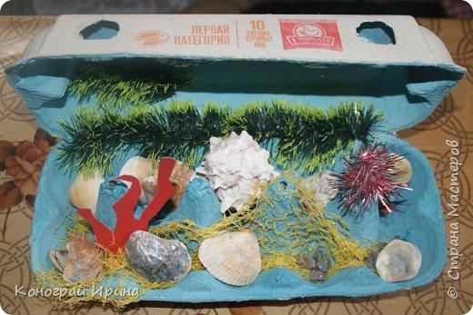 Для поделки мы использовали картонный лоток от яиц, ракушки, немного гальки, мишуру, картон, сеточку от фруктов, ложки одноразовые, гуашь, клей, лак с тонкой кисточкой (для росписи рыбок). фото 10