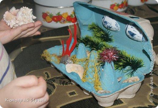 Для поделки мы использовали картонный лоток от яиц, ракушки, немного гальки, мишуру, картон, сеточку от фруктов, ложки одноразовые, гуашь, клей, лак с тонкой кисточкой (для росписи рыбок). фото 11