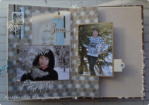 Альбом размером 15*20 из двух наборов бумаги 20*20 Rustic Winter и Shabby Winter. В нем разместилось 27 фотографий размером 7,5 *10 см фото 13