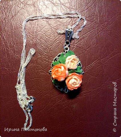 Кулон. Цветы с имитацией под бумажный СКРАП