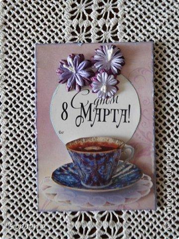 Доброго времени суток,дорогие друзья! Показываю открыточки к 8Марта. Делались для разных людей, старалась учесть характер и пристрастия, поэтому все в разных стилях. фото 1