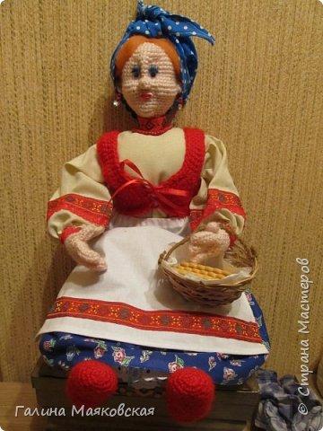 Привет всем! Появилась еще одна бабулечка-красотулечка Матрена. Рост 0,5 м, проволочный каркас. Сделана для компании деду http://stranamasterov.ru/node/1084375. фото 1