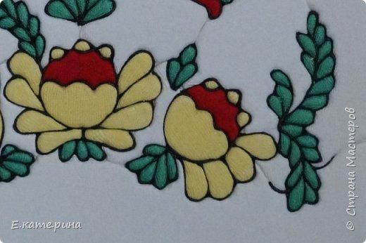 Вторая попытка (первая была с пермогорской росписью)  объединить северную роспись и технику кинусайга.  фото 3
