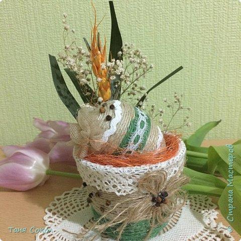 Описывать не буду и так все понятно (джут,тесьма, сизаль, яйцо, сухие цветы.) фото 1