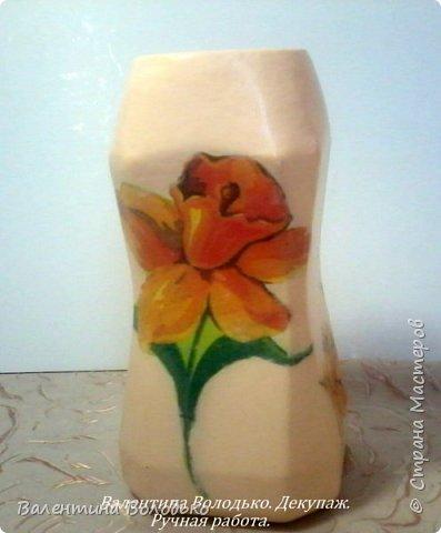 Добрый день мастера и мастерицы!!!!Задекупажила две банки,получились вазочки для цветов. фото 2