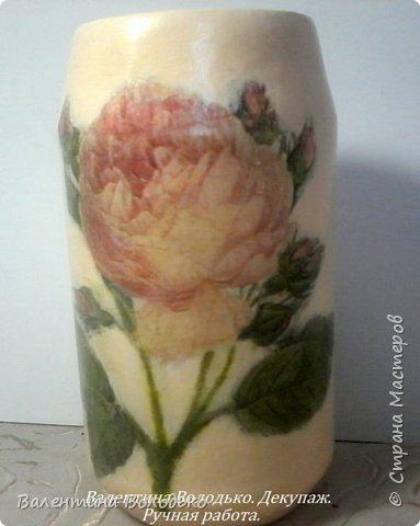 Добрый день мастера и мастерицы!!!!Задекупажила две банки,получились вазочки для цветов. фото 3