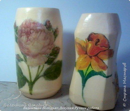 Добрый день мастера и мастерицы!!!!Задекупажила две банки,получились вазочки для цветов. фото 1