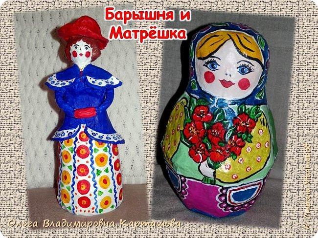 Дымковская барышня и Матрёшка, довольно больших размеров, появились в моей, пока ещё маленькой коллекции папье-машечных игрушек. фото 1