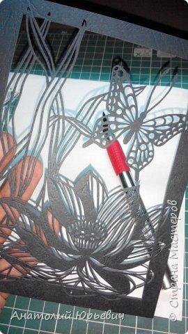 """Всем привет! Вашему вниманию представляю очередную открытку. Рисунок взят на просторах интернета, изменён и доработан под """"вырезалку"""". (В оригинале вместо бабочки,стрекоза, да и лотос там другой))  Хотя со стрекозой эскиз тоже есть)) Размер 12х16 см. фото 2"""