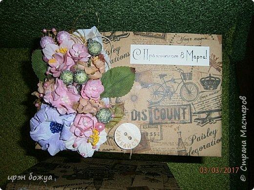 Вот такие коробочки  были сделаны по заказу мужа на 8 марта сотрудницам на работе. МК есть у меня в блоге. Здесь уже другая оберточная бумага- а ля Париж, хотя на ней видны купола церквей. фото 10