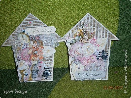 Весна пришла.Захотелось весенних открыток. Вот такие шебби-домики получились. Одна отправиться в подарок по игре, другая будет подарена на день рождение. фото 1