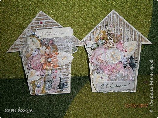 Весна пришла.Захотелось весенних открыток. Вот такие шебби-домики получились. Одна отправиться в подарок по игре, другая будет подарена на день рождение. фото 9