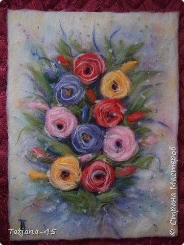 Так выглядит картина без стекла. Мои любимые розы. фото 1